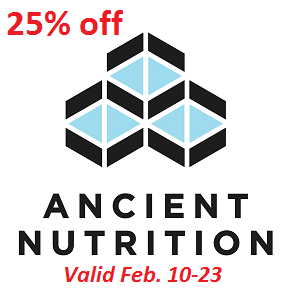 All Ancient Nutrition products 25% off Feb. 10-23 2020
